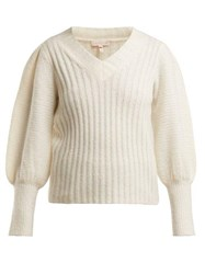 Rebecca Taylor Puffed Sleeve V Neck Sweater White