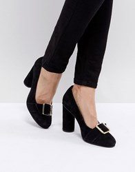 Selected Suede Round Toe Court Shoe With Buckle Black