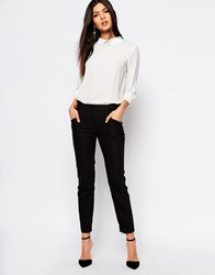 Mango Slim Leg Trouser Black