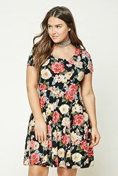 Forever 21 Plus Size Floral Skater Dress Black Coral