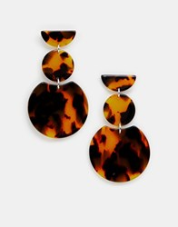 Accessorize Brown Tortoiseshell Three Drop Earrings