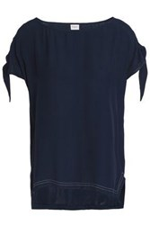 Charli Selma Knotted Crepe Satin Top Navy