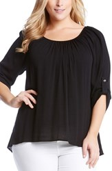 Plus Size Women's Karen Kane Roll Sleeve High Low Hem Gauze Peasant Top