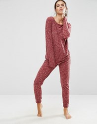 Asos Lounge Ribbed Neppy Jumpsuit Burnt Red