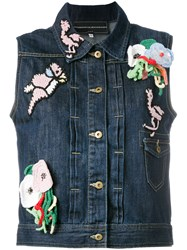 Michaela Buerger Patches Sleeveless Denim Jacket Blue