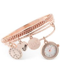 Styleandco. Style And Co. Women's Rose Gold Tone Charm 3 Pc. Bangle Bracelet Watch Set 20Mm Sy012rg Only At Macy's