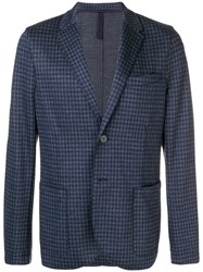 Harris Wharf London Check Blazer Blue