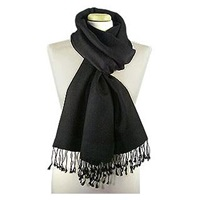 Forzieri Black Pashmina And Silk Shawl