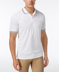 Club Room Men's Striped Trim Cotton Polo Only At Macy's Bright White