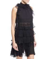 J. Mendel Ruffled Lace Racer Blouse Black