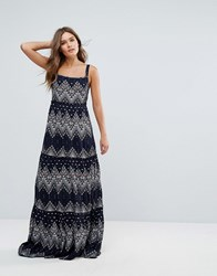 Pepe Jeans Printed Maxi Dress Navy