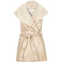 River Island Womens Cream Faux Suede Belted Gilet