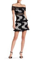 Romeo And Juliet Couture Off The Shoulder Crochet Lace Dress Black