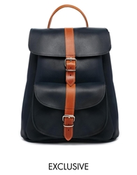 Grafea Exclusive Leather Backpack In Navy With Tan Contrast Strap Navywtan