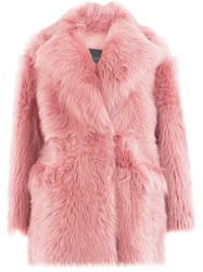 Blancha Oversized Shearling Coat Pink And Purple