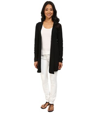 Allen Allen Hooded Open Cardigan Black Women's Sweater