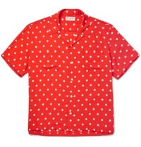 Saint Laurent Camp Collar Polka Dot Voile Shirt Red