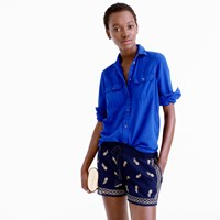 J.Crew Embroidered Short In Gauzy Cotton