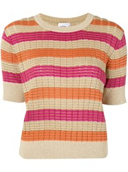 Suboo Striped Knitted Top Orange