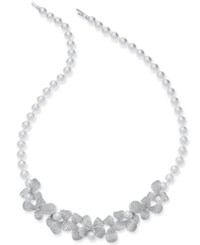 Danori Silver Tone Imitation Pearl And Crystal Pave Petal 16 1 2 Collar Necklace Rhodium