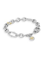 Judith Ripka Vintage 18K Yellow Gold And Sterling Silver Newport Chain Link Bracelet Silver Gold
