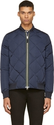 Paul Smith Navy Diamond Quilted Bomber Jacket