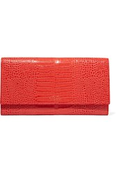 Smythson Mara Marshall Croc Effect Glossed Leather Wallet Coral