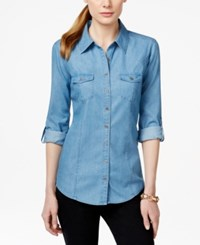 Styleandco. Style And Co. Petite Two Pocket Button Down Denim Shirt Only At Macy's