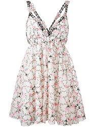 Giamba Floral Print Pleated Dress White