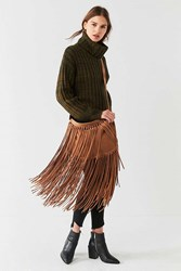 Urban Outfitters Fringed Slouchy Crossbody Bag Brown