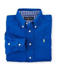 Ralph Lauren Childrenswear Custom Fit Cotton Double Weave Shirt Blue Size 2 7 Girl's Size 4 Blue Multi