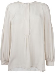 Dorothee Schumacher Pleated Shoulder Peasant Blouse Nude And Neutrals