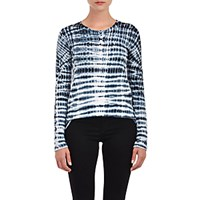 Proenza Schouler Women's Tie Dyed Long Sleeve T Shirt Black White Blue Black White Blue
