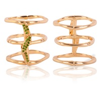 Vara Of London The Bamboo Leaves Ring Gold Green