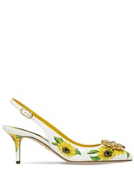 Dolce And Gabbana 60Mm Sunflower Leather Slingbacks White