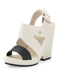 Melissa Shoes Flip Jelly Wedge Sandal Beige