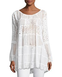 Johnny Was Mixed Tiered Tunic Petite White