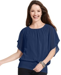 Style And Co. Flutter Sleeve Banded Hem Top Honey Glaze