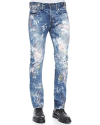 Prps Demon Allover Paint Splatter Slim Denim Jeans Blue