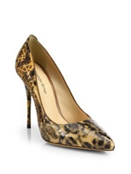 Alexandre Birman Laser Cut Python And Suede Pumps Leopard