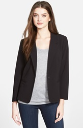 Kensie Stretch Crepe One Button Blazer Black