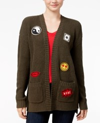 Hippie Rose Juniors' Patched Open Front Cardigan Olive