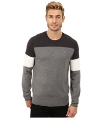 Lacoste L Ve Long Sleeve Color Block Pullover Sweater Scarab Chine Flour Stone Chine Men's Sweater Gray