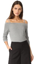 Robert Rodriguez Cold Shoulder Knit Tee Heather Grey