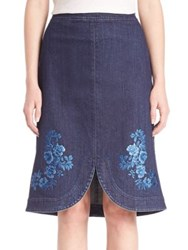 Stella Mccartney Embroidered Denim Skirt Dark Blue 4060