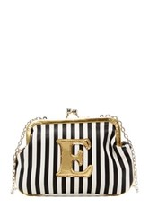 Melie Bianco Striped Initial Pouch E Multi
