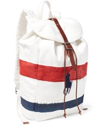 Polo Ralph Lauren Men's Striped Canvas Backpack White