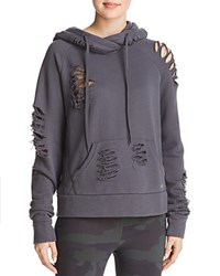 Alo Yoga Distressed Hooded Sweatshirt Anthracite Destroyed Gray