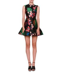 Valentino Tropical Dream Brocade Sleeveless Dress Black Multi Multi Colors