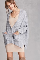 Forever 21 Boxy Waffle Knit Cardigan Light Blue